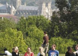 Institution featured at 70 percent quality 541 students sit on campus lawn uni kent20120906 2 13cl71r